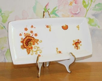Lovely Vintage, Minton, Oberon White Platter in Shades of Orange, Gold and Brown