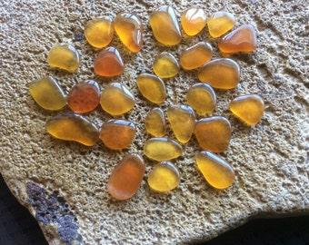 FREE SHIPPING 25 Golden Butterscotch Amber Beach Sea Glass BY-A14-26-A