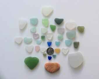 34 Hearts Aqua Blue Genuine Sea Glass H-F8-34