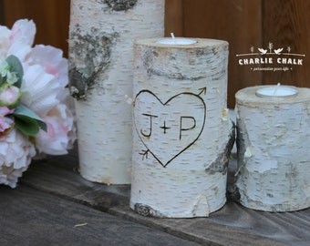 Heart Arrow Initials 3 Natural Birch Candles, Rustic Wedding Decor, Personalized Wedding Decorations, Rustic Home Decor, Bridal Shower Gift