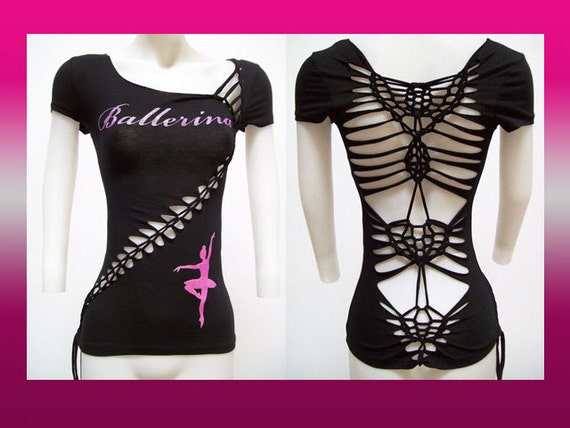 SALE!!! SMALL - Juniors / Womens Ballerina Black Weaved and Cut Top Size Small Shredded T  Dancer Inspired