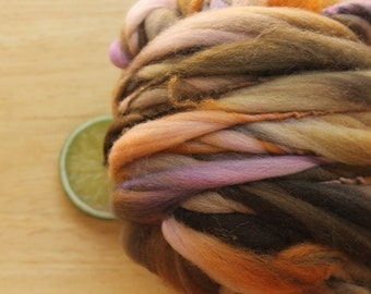 Harvest Faire - Handspun Wool Yarn Brown Orange Lavender Thick and Thin