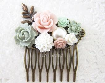 Hair Comb Wedding Hair Comb Bridal Comb Hair Accessories Blush Pink Mint Sage Green Romantic Hair Slide Flower Hair Comb