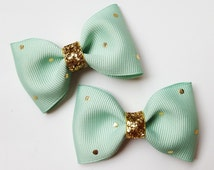 mint and gold polka dots - 2.5 inch tuxedo style hair accesories--gold glitter pigtails hair bows for baby toddler big girls and adults, too