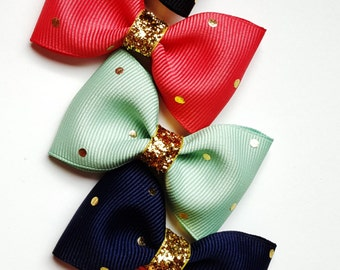 set of 5- mint navy coral gold black and blush with gold polka dots-2.5 inch holiday collection tuxedo hair accesories- pigtails hair bows