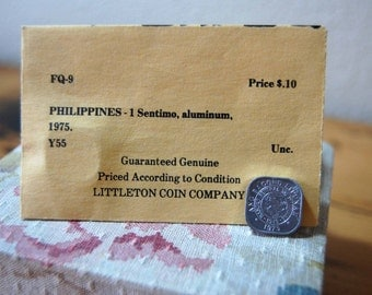 Vintage Philippinges 1 Sentimo Aluminum Coin 1975 Uncirculated Coin Little Coin Company Coin Collectable from The Eclectic Interior