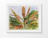"Corn painting - Original nature art - Mixed Media - 10"" x 8"" - Plant Illustration"