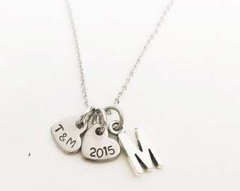 Simple Heart Necklace with Letter Charm