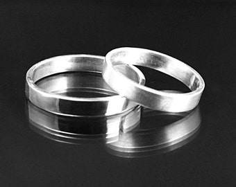 Women's Silver Wedding Ring--Thin Silver Wedding Band--3mm wide Flat Edge Solid Sterling Silver Wedding Band Custom made in YOUR size