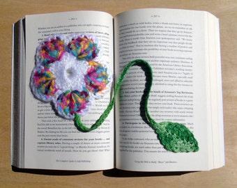 Crochet Bookmark - Flower - Rainbow and White