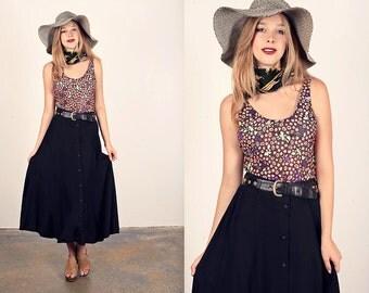 Vintage 80s Circle Skirt Button Down Maxi Black