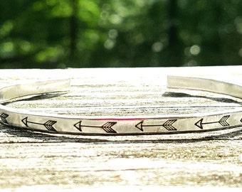 Arrow Bracelet, Hand Stamped Bracelet, Skinny Stacking Cuff