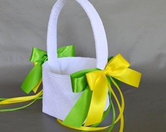 White lace wedding flower girl basket with lemon yellow and kiwi green ribbons
