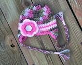 Pink camo crochet baby hat