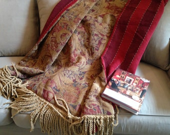 Rich Royal Red Chenille Scroll and Stripe Throw Blanket, Luxurious, One of a Kind, USA Made