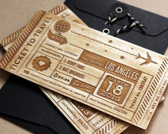 Personalised laser cut wooden tickets - Travel