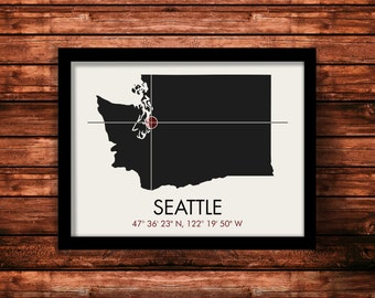 Seattle Map Print | Seattle Map Art | Seattle Print | Seattle Gift | Washington Map | 11 x 14 Print