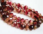 Picasso finish Czech Fuchsia and Rose faceted multicolored glass rondelle 8x6mm half strand NR-579