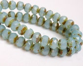 Aqua Blue Opal Picasso finish high luster fire polished Czech faceted sky blue milky glass rondelle beads 7x5mm NR-728