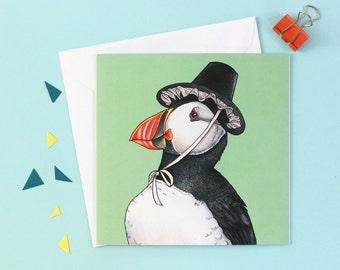 Puffin in a Welsh Hat: Square Tradtional Welsh Birds in Hats Greetings Card / Cerdyn Pâl