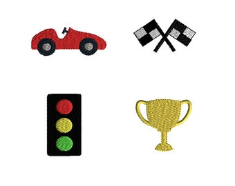 Mini Race Car Machine Embroidery Design Set-INSTANT DOWNLOAD