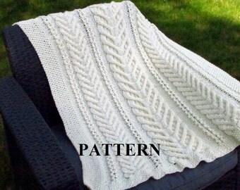 Knit Baby Blanket Pattern, Baby Blanket Pattern, Knitting Pattern Blanket, Knitting Pattern, Stag  Horn, Aran Cable Knit, Irish Baby Blanket