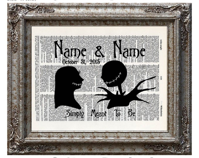 Nightmare Before Christmas 16 Names & Date Jack and Sally on Vintage Upcycled Dictionary Art Print Book Art Print Anniversary Wedding Custom