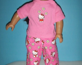 Hello Kitty  Pajamas with Bright  Pink Short Sleeve TeeTop fits American Girl Doll and other 18 inch Dolls