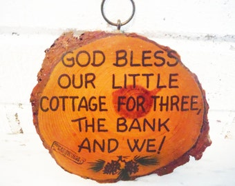 House blessing ,house warming gift, new home , vintage wall hanging motrgage bless our house wood slice