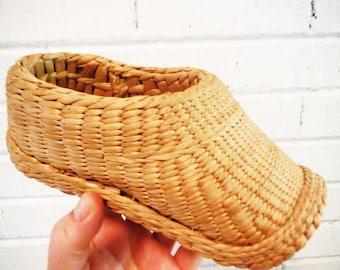 Vintage woven reed shoe straw primitive rustic footwear basket
