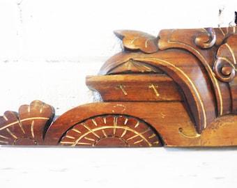 Vintage architectural element oak carved Gothic Prairie
