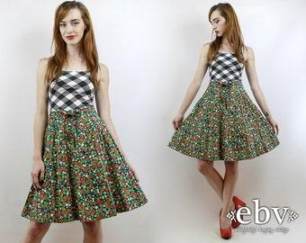 Vintage 70s High Waisted Strawberry Skirt S High Waisted Skirt Knee Skirt High Waist Skirt Novelty Print Skirt 70s Skirt Summer Skirt