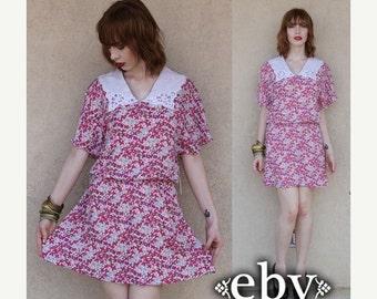 Vintage 80s Floral Secretary Mini Day Dress S M L Floral Mini Dress Secretary Dress Day Dress Work Dress Pink Dress Summer Dress