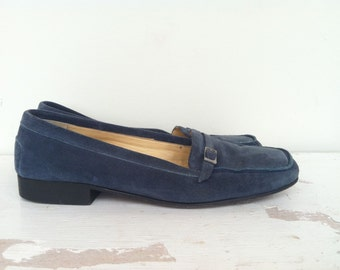 Vintage Celine Loafers // Blue Suede Shoes // Designer Vintage Loafers // Womens Shoe Size 7 37
