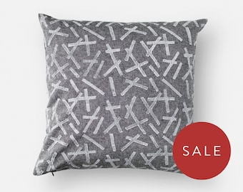 Block Print Cushion Cover - 16x16 Square - Chambray - Modern Geometric Pattern - White, Non-Toxic, Water-Based Ink - Linen, Cotton Blend