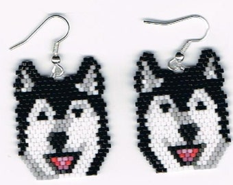 2 Hand Beaded laughing Black and white wolf, malamute, husky earrings with no fringe.