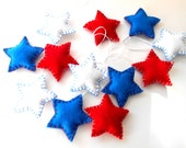 Handmade, 12 Puffy Star Felt ornaments, Red White Blue, Patriotic, Americana, 4th of July, Memorial day
