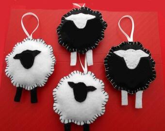 Sheep Ornaments Set of 4 Handmade  Felt ornaments Child safe, Sheep black and white
