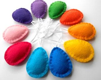 Colorful Felt Egg Ornaments. Set of 10. Handmade. Child Safe Decor