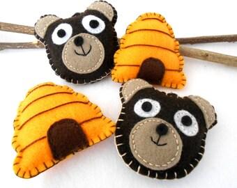 Bee Hive and Bear ornaments - 4 pc. set - Handmade -Felt-Storybook Child Safe