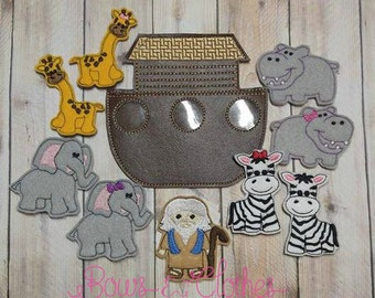 Noah's Ark finger puppets and case embroidery design digital instant download