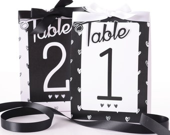 Chic Wedding Table Number Tent Cards - Heart Wedding Table Markers - Wedding Decor - Black and White Wedding Table Tents