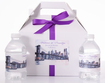 Brooklyn  Destination Wedding - 25 Sketched Skyline Wedding Favor Box / Wedding Welcome Boxes with 50 matching Water Bottle Labels