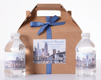 Minneapolis Destination Wedding - 25 Sketched Skyline Wedding Favor Box / Wedding Welcome Boxes with 50 matching Water Bottle Labels