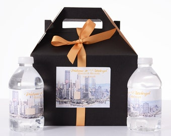 Pittsburgh Destination Wedding - 25 Sketched Skyline Wedding Favor Box / Wedding Welcome Boxes with 50 matching Water Bottle Labels