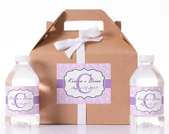 Wedding Gift Box - 25 Wedding Favor Box / Welcome Box Labels Gable Wedding Box Set with 50 Water Bottle Labels