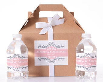 30 Wedding Favor Box / Welcome Box Labels Gable Wedding Box Set with 60 Water Bottle Labels