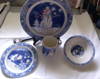4 Piece Epoch by Noritake Christmas Children Place Setting