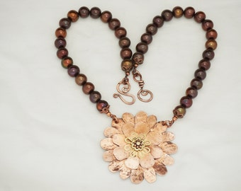 Large Handmade Copper Flower with Pearls