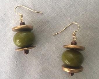 Gold and green dangle earrings, semi precious